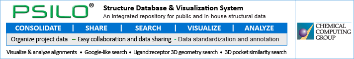 PSILO - Protein Structure Database and Visualization System: Visualize and Analyze Alignments, 3D pocket similarity search, Ligand:receptor 3D geometry search...